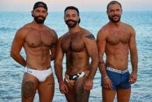 Horny at the beach: Bruno Max, Sir Peter & Teddy Torres (Bareback)