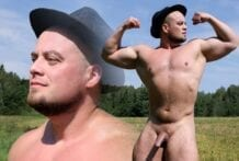 Russian Strongman Oleg Jerks Off in the Country